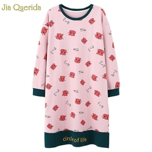 寝間着睡眠ドレス綿長袖秋ナイトガウンかわいいピンク漫画印刷ナイトシャツプラスサイズsleepshirts女性