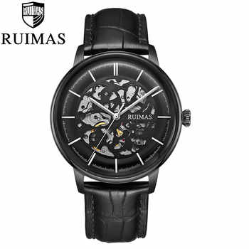Stainless Steel Automatic Mechanical Mens Skeleton Watches Luminous Hands Leather Business Wrist Watches Relogio Masculino - DISCOUNT ITEM  50% OFF All Category