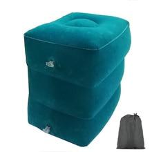 Pvc travesseiro de viagem inflável descanso de pé avião carro ônibus apoio para os pés travesseiro altura ajustável crianças vôo descanso descanso
