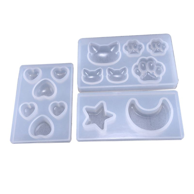 3 Pcs DIY Star Moon Cat Footprint Love Heart Silicone Resin Mold Jewelry Tools