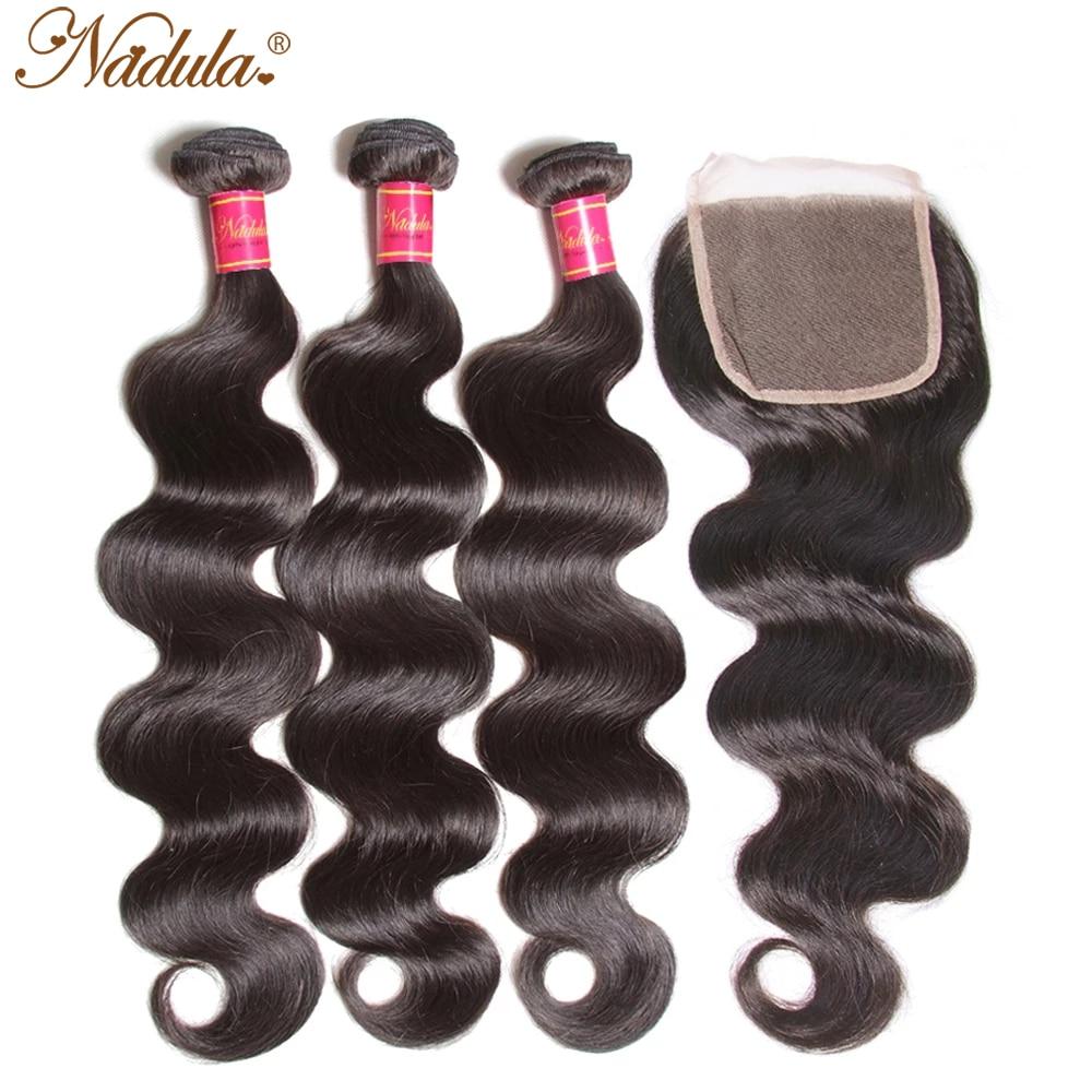 Бразильские волнистые пряди Nadula Hair Hd, с застежкой, 4x4, бразильские пряди волос с застежкой