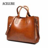 Bolsas de couro acelure grande bolsa feminina de alta qualidade casual sacos do sexo feminino tronco tote espanhol marca bolsa ombro senhoras grandes bolsos