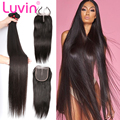 Luvin Straight 8- 28 30 32 40 inch 3 4 Bundles Brazilian Remy Human Hair Weave With 4x4 5x5 6x6 Lace Closure Hair Extension