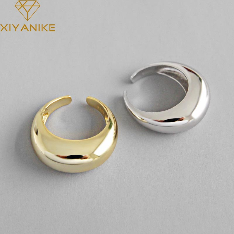 XIYANIKE Korean Simple 925 Sterling Silver Handmade Rings for Women Wedding Couple Creative Geometric Engagement Jewelry Gifts