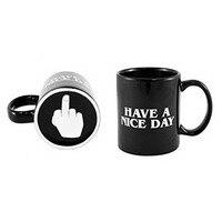가정 사용 성격 좋은 하루 되세요 머그잔 중간 손가락 패턴 커피 우유 차 컵 멋진 독특한 선물 세라믹 블랙 9.5cm