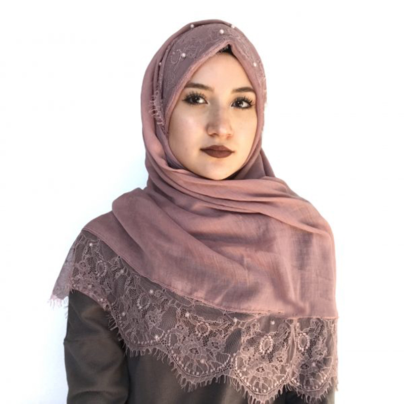 2019 Women Plain Lace Scarf  Hijab Ladies Shawls Head Wrap Turban Islamic Cotton Headscarf Pearls Beading Hijab Femme Musulman