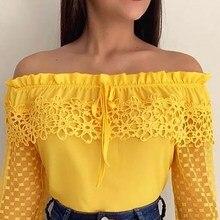 Women Off Shoulder Lace Sexy Blouse Shirt Casual Chiffon Dot Blouse And Shirt Top Slash Neck Elegant Blouse Blusa