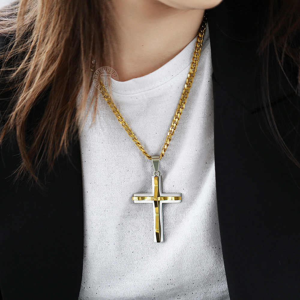 """24/""""MEN Stainless Steel 4.5mm Gold Cuban Curb Necklace Simple Cross Pendant*GP"""