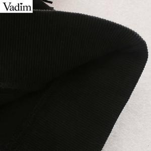 Image 5 - Vadim femmes mode glands conception noir sweat à manches longues O cou pulls femme basique confortable solide hauts HA588