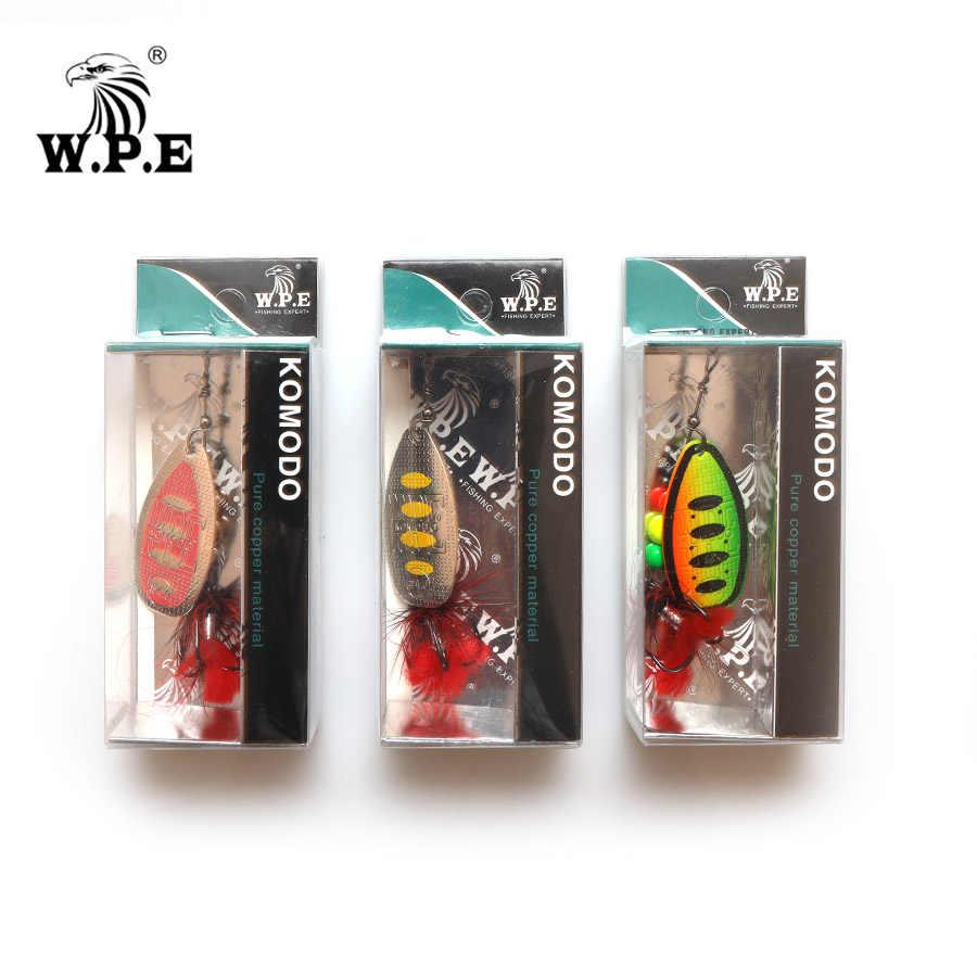 W.P.E ใหม่ล่อ 2 ชิ้น/ล็อตทองเหลือง SPINNER Lure Feather โลหะ CrankBait ปลาคาร์พประมง Pesca TREBLE Hook เหยื่อตกปลาเหยื่อตกปลา tackle