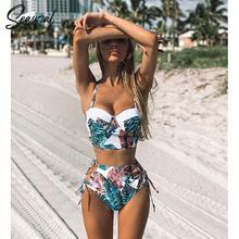 Zestaw bikini dla kobiet wysoka talia push up kobiece dwuczęściowe kostiumy kąpielowe w kwiaty 2019 tanie tanio SEAURAL CN (pochodzenie) Drukuj Bikini set Drut bezpłatne TZ18042 WOMEN Poliester High Waist S M L XL Print
