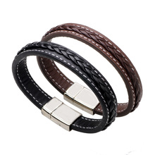 Korean Version of High-grade Simple Leather Bracelet Fashion Classic Punk Titanium Ornaments Synoke Grinch Snap Button Jewelry