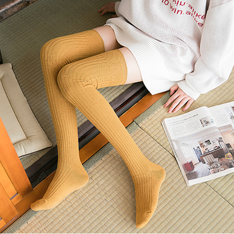 Women Knitted Sexy Stocking Female Warm Thigh High Over The Knee Socks Autumn Winter Fashions Ladies Solid Color Stockings