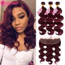 99j Bundles With Frontal Closure Brazilian Hair Weave Bundles Burgundy Body Wave 3 Bundles With Frontal Remy AliPearl Hair