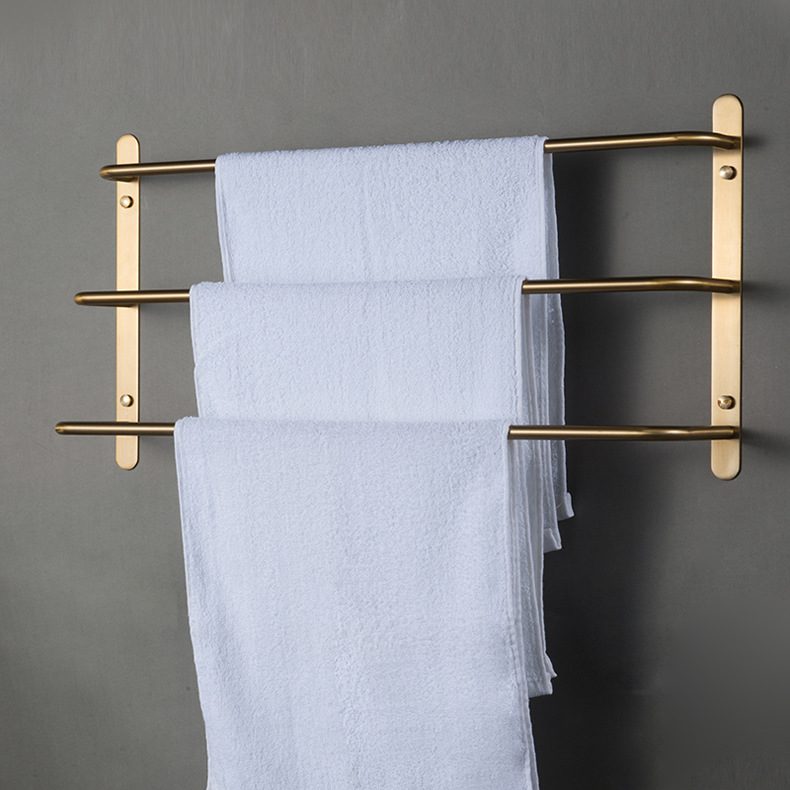 Gold Bathroom Towel Rack Stainless Steel Towel Bar Adhesive Towel Holder Bathroom Accessories Free Shipping