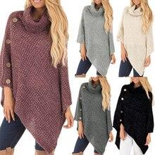 Осенне-зимняя теплая верхняя одежда для женщин, свободное Трикотажное пончо с воротником-черепахой и пуговицами, пуловер с асимметричным подолом, вязаные свитера,, свитер