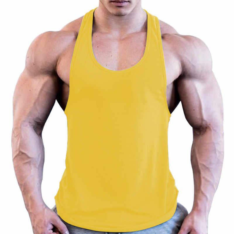 筋肉メンズボディービルストリンガータンクトップ Y バックジムワークアウトスポーツベスト男性服白赤黄青 2019 男性トップス