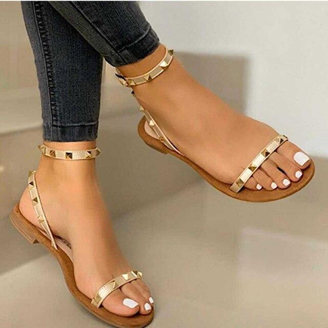 2020 Sandalias Mujer remache hebilla Correa pisos mujer punta abierta Sexy playa Casual zapatos mujer verano calzado talla grande 3