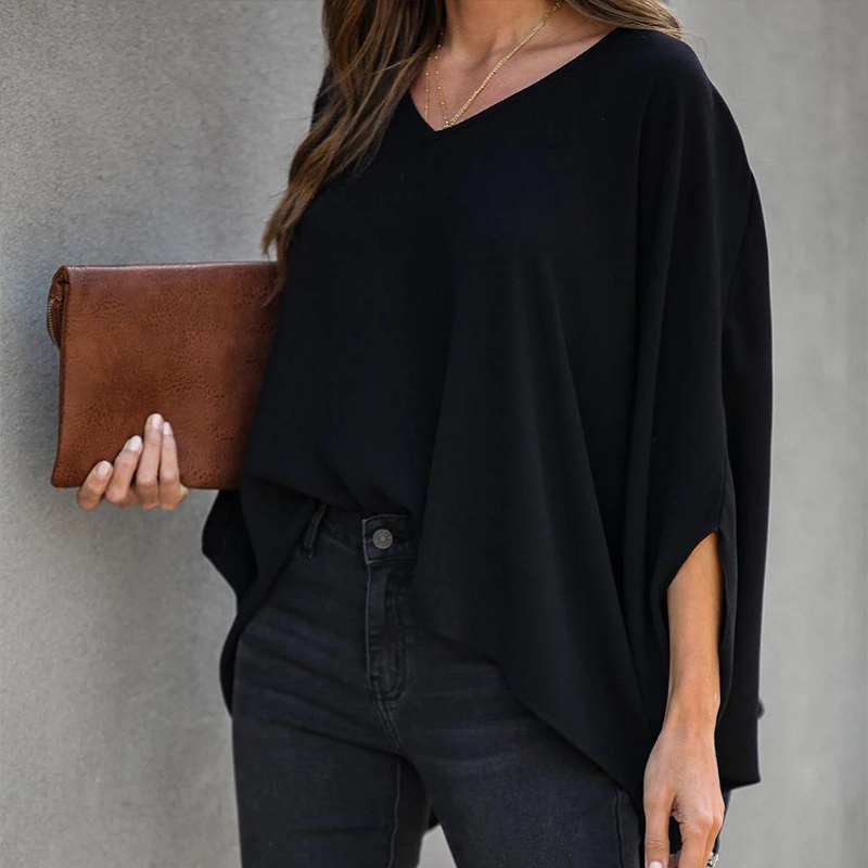 Summer 3/4 Batwing Sleeve Women's Blouse Black V-neck Irregular Hem Loose Tops Female 2020 Spring Casual Solid Ladies Blouses