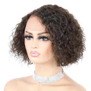 Короткие 3,5-дюймовые кружевные парики, L-Part, вьющиеся волнистые кружевные парики, бразильские человеческие волосы, черные женские волосы с д...