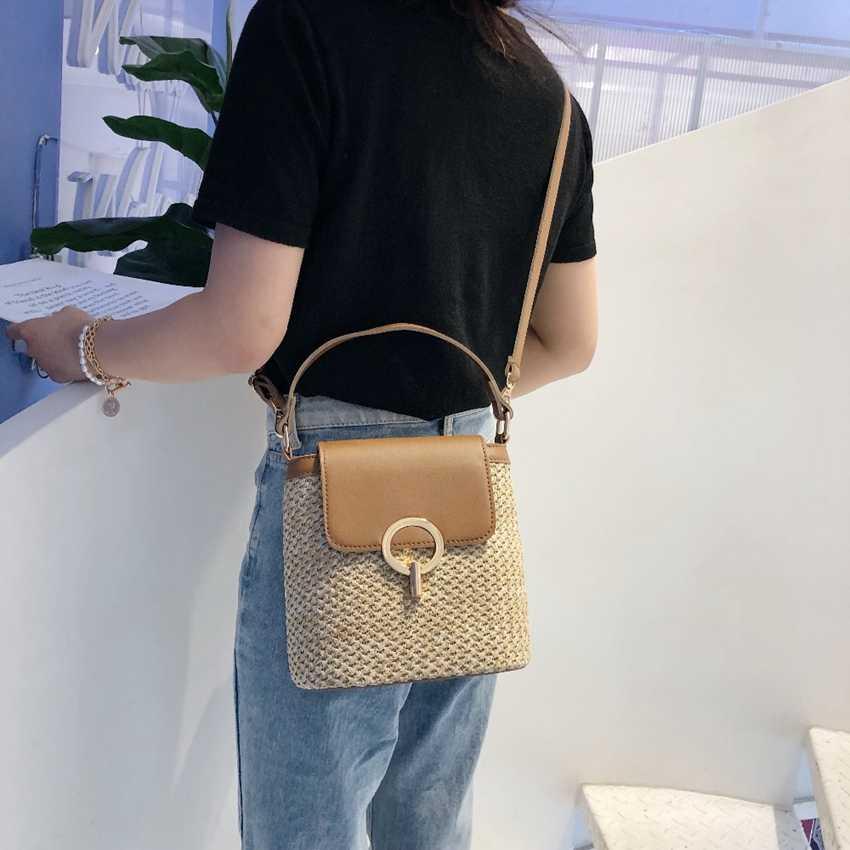 Шестигранная Соломенная Сумка для женщин, 2020 летние плетеные пляжные сумки через плечо, женские маленькие кошельки и сумочки, Женская дорожная сумка-мессенджер