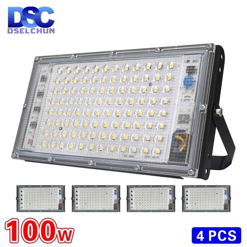 4pcs lot 100W Led Flood Light AC 220V 230V 240V Outdoor Floodlight Spotlight IP65 Waterproof LED Street Lamp Landscape Lighting