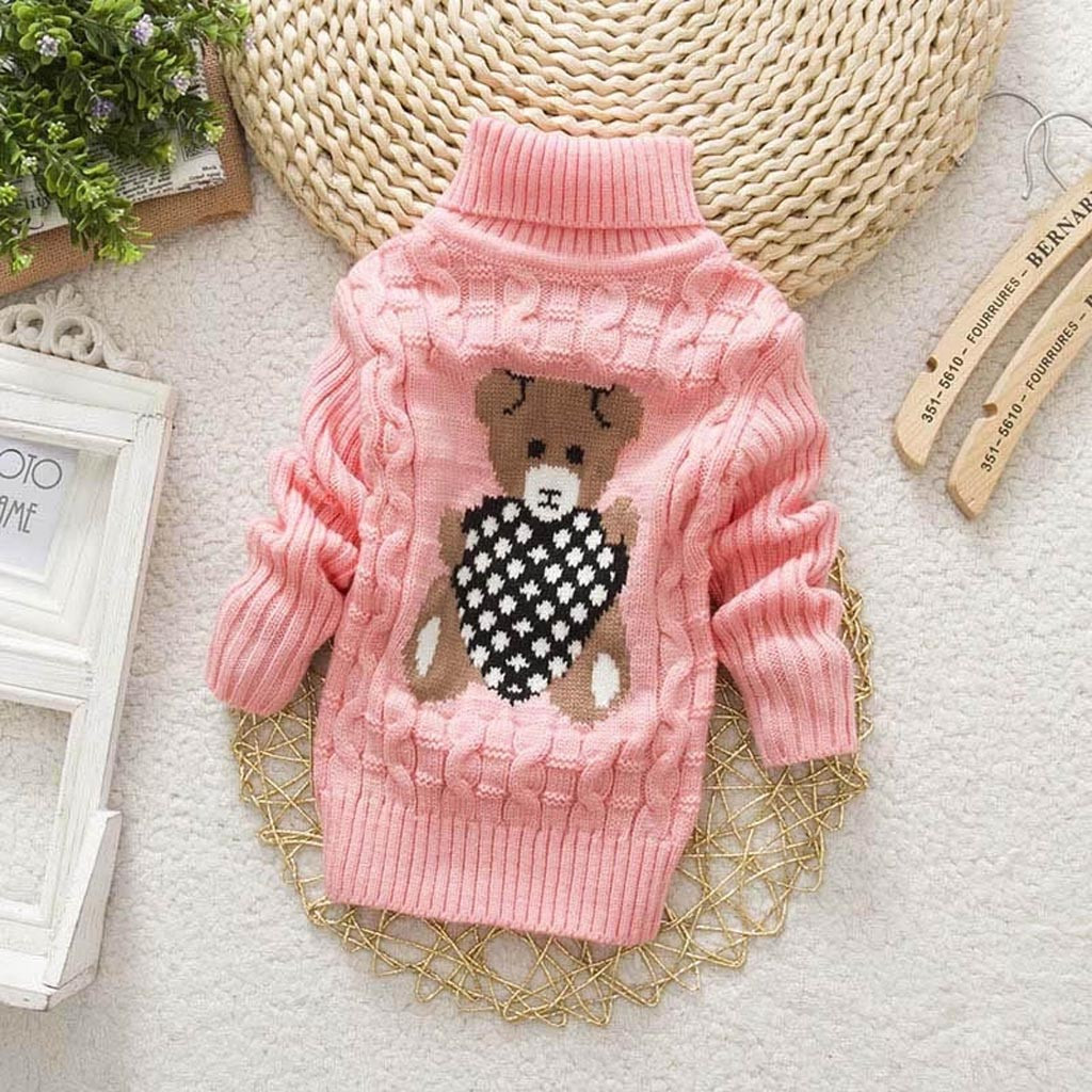 Toddler Kids Baby Girls Winter Solid Hooded Sweater Knit Crochet Tops Jumper