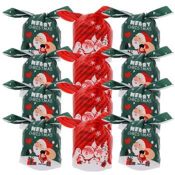 100 sztuk torby do pakowania piękne boże narodzenie trwałe bezpieczne przechowywanie torby torby na prezenty torby cukierków torby do pakowania cukierków tanie i dobre opinie CN (pochodzenie)