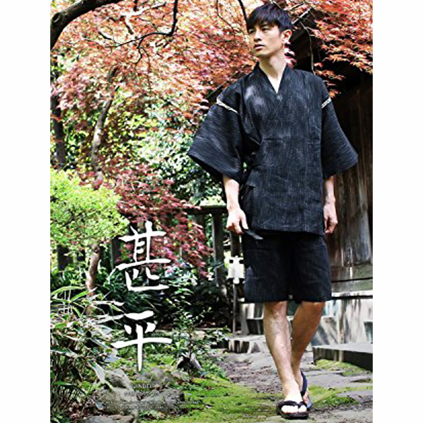Man Japanese Traditional Costumes Samurai Jinbei Loose Sleepwear Thin T-shirt+shorts Cotton Sauna Yukata Male Oriental Pajamas