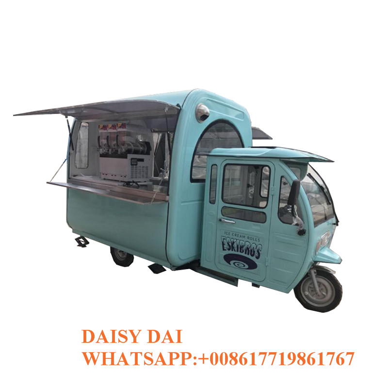 Commercial Street Mobile Coffee Ice Cream Tricycle Fast Food Truck Cart