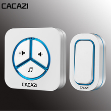 CACAZI 48 Chime 80DB Wireless Doorbell Waterproof 280M Remote EU AU UK US Plug smart Door Bell Battery 1 Button 1 Receiver