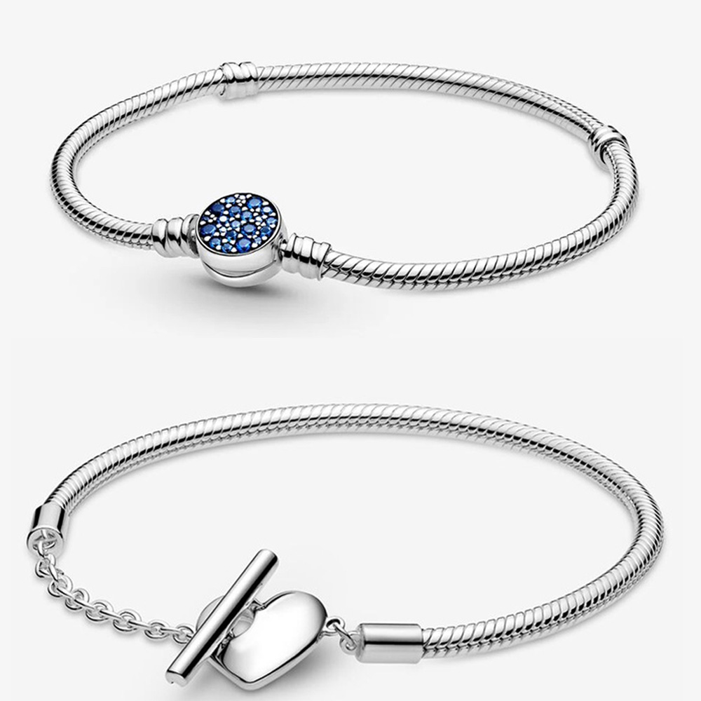 2021 New Arrivals 925 Solid Silver Bracelet Heart T-Bar Snake Chain Sparkling Blue Disc Clasp Snake Chain Bracelet Women Jewelry
