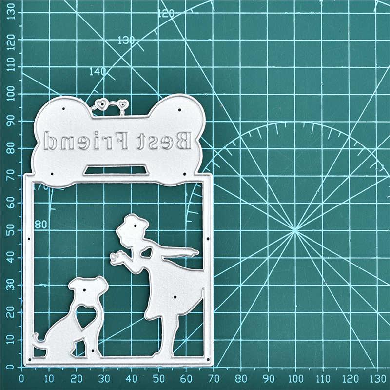 Kokorosa kız köpek arkadaş çerçeve Metal kesme ölür şablonlar için DIY Scrapbooking dekorasyon kabartma el sanatları kalıp kesim