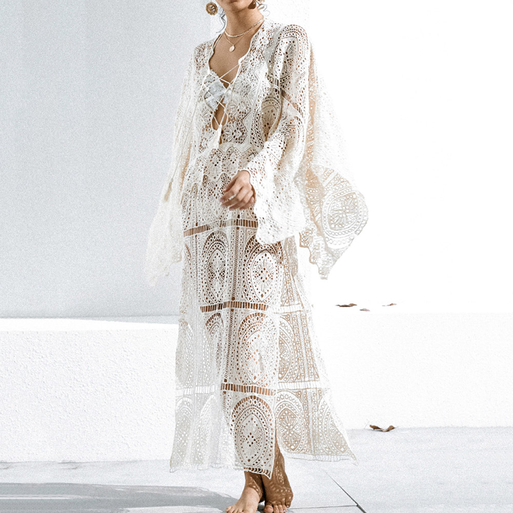 White Hollow Loose Summer Beach Dress Women Sexy Lace Up V-Neck High Split Party Long Dresses Holiday Long Sleeve Sundress 2020