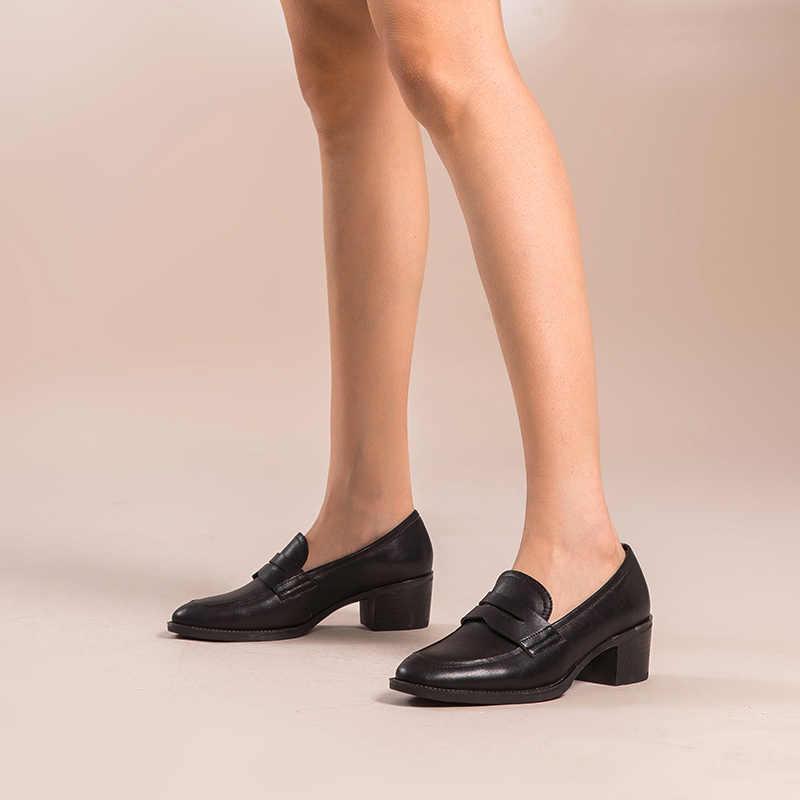 BeauToday kadınlar hakiki inek deri yuvarlak Toe Slip-On Penny loafer'lar Med topuk bayan ayakkabıları el yapımı 15135
