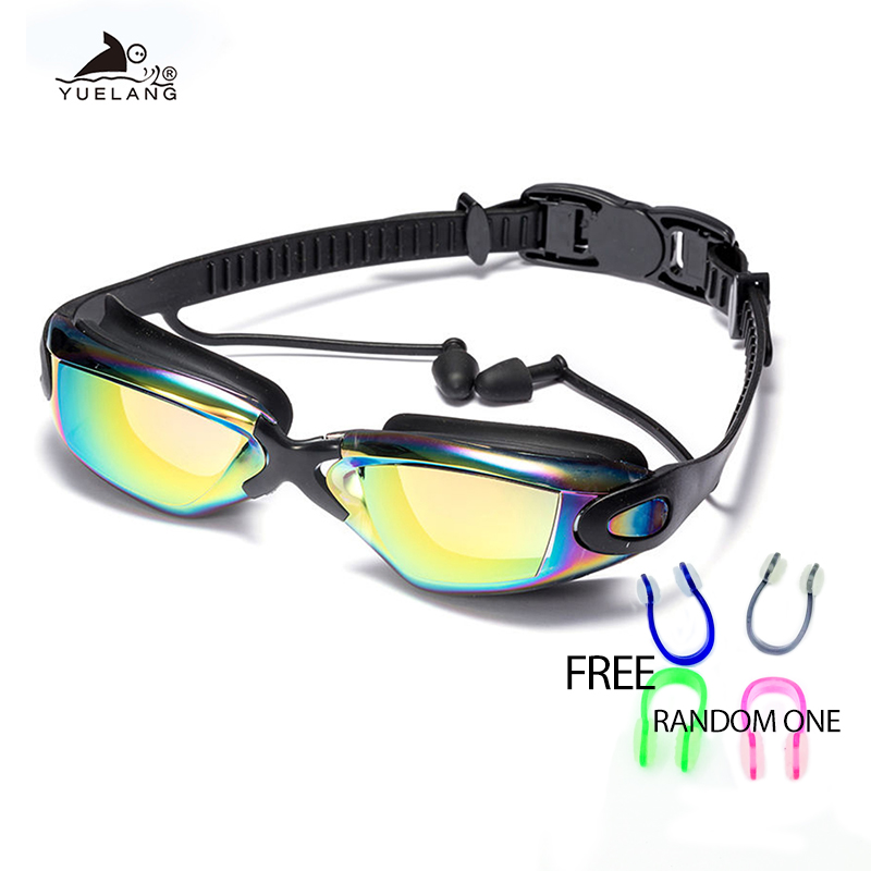 Adults Professional Swimming Goggles Swimming Glasses With Earplugs Nose Clip Electroplate Waterproof Silicone очки для плавания
