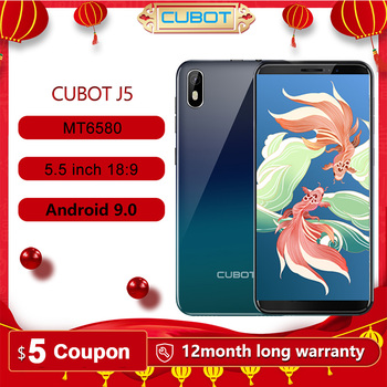 "Cubot J5 Smartphone Android 9.0 Telephone 5.5"" 18:9 Full Screen MT6580 Quad-Core 2GB RAM 16GB ROM Phone Dual SIM Card 2800mAh 3G"