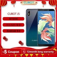 "Cubot J5 Smartphone Android 9.0 telefon 5.5 ""18:9 tam ekran MT6580 dört çekirdekli 2GB RAM 16GB ROM telefon çift SIM kartı 2800mAh 3G"