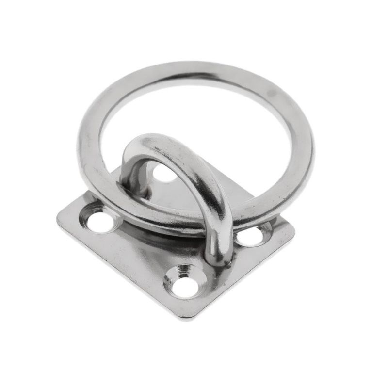 Heavy Duty 304 Stainless Steel Square Pad Eye Plate Eye Hook With Round Ring Boat Marine Hardware For Sailing Boating M5/M6/M8