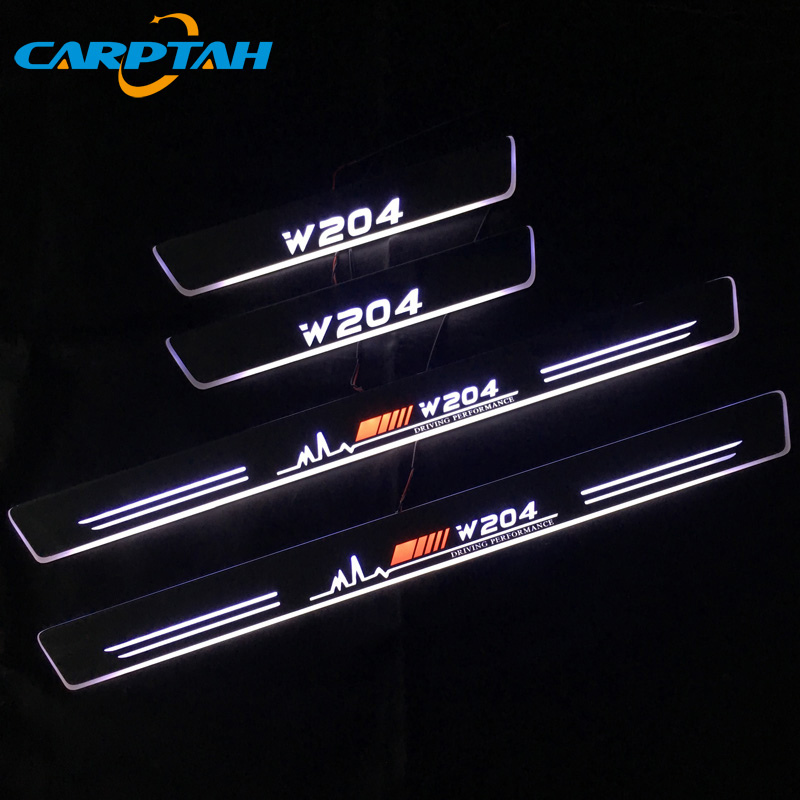 SNCN LED Car Scuff Plate Trim Pedal Door Sill Pathway Moving Welcome Light For Mercedes-Benz W204 <font><b>C200</b></font> 2008-2013 Badge Emblem image