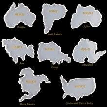 Семь континентов карта coaster смоляные формы карты Силиконовый