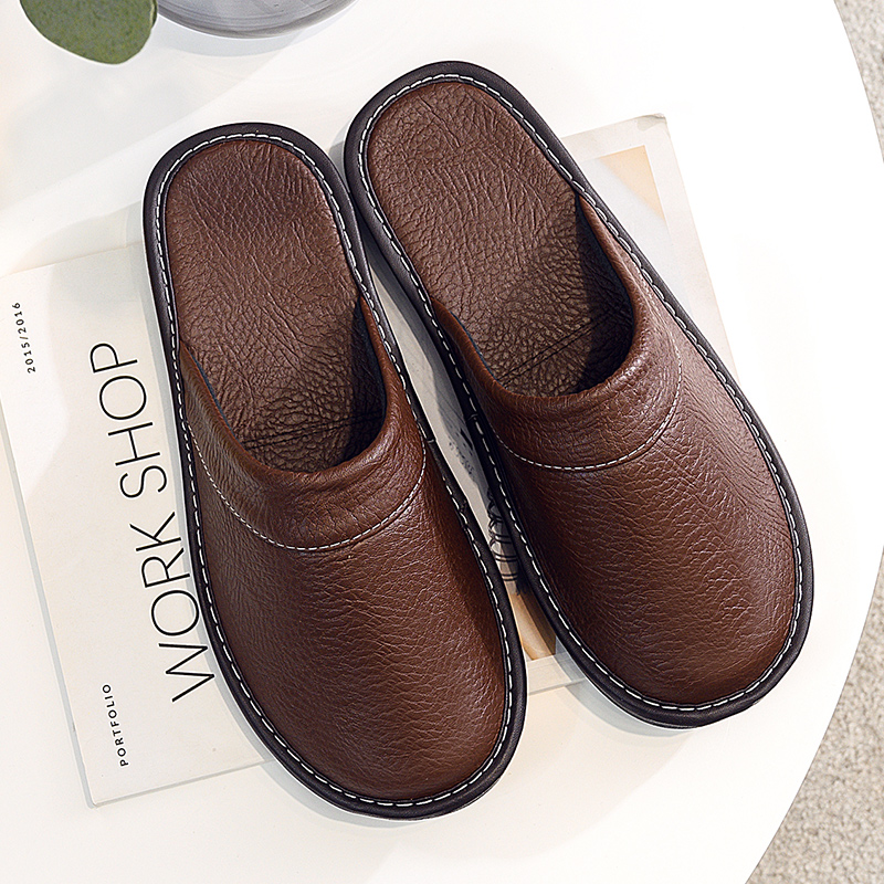 Couples simple leather slippers men home spring shoes 2021 trend flat Precision stitching man slippers