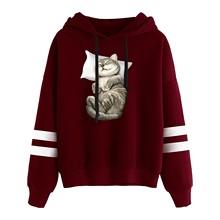 Dziewczyna bluza z kapturem w stylu Harajuku z długim rękawem pasiasta bluza z kapturem bluza z kapturem bluza z kapturem nadruk z kotem bluza z kapturem ciepła miękka pełna bluza z kapturem tanie tanio ISHOWTIENDA Poliester CN (pochodzenie) Wiosna jesień REGULAR STANDARD Suknem Sweatshirt 300g Drukuj Na co dzień Osób w wieku 18-35 lat