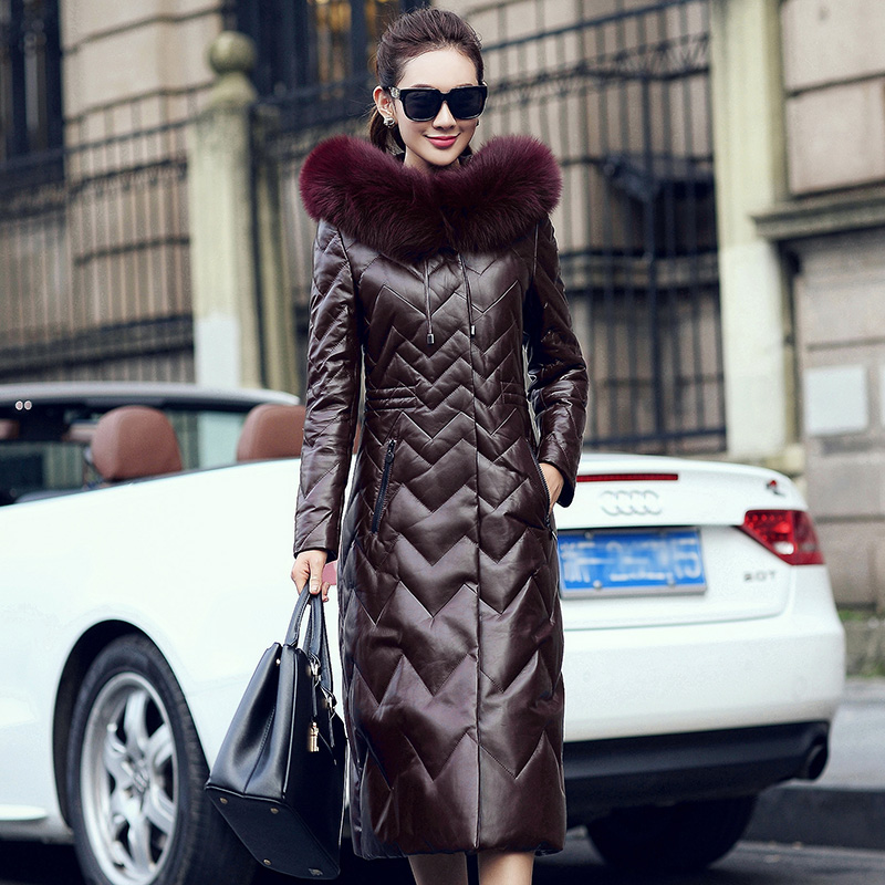 Real Genuine Leather Jacket Women Clothes 2019 Korean Fox Fur Collar Sheepskin Down Coat Streetwear Tops Chaqueta Mujer ZT3546
