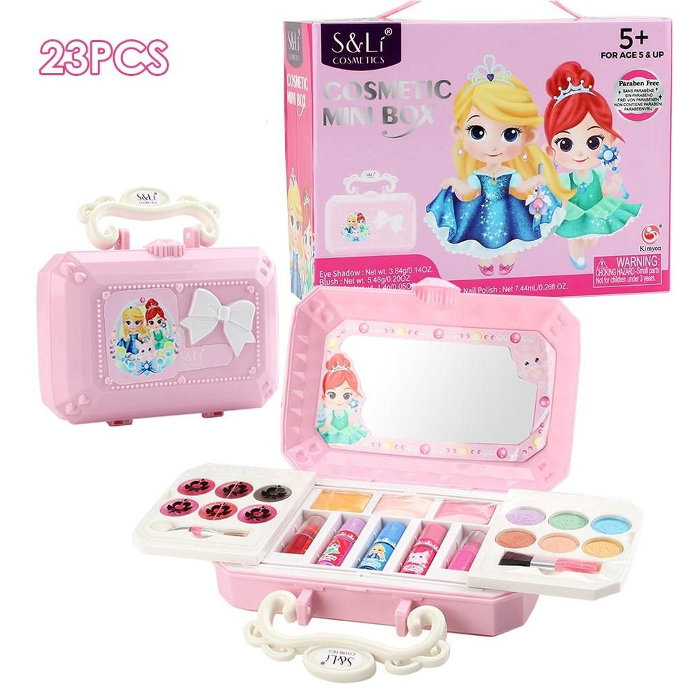 23pcs Cosmetics Makeup Set Toys Make Up Kits Play House Girl Dress Up Non-Toxic Washable Toy For Six Years Old Children Or Older
