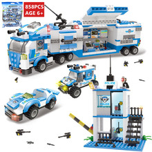 цена на 858Pcs City Police Command Vehicle Truck Building Blocks SWAT Creator LegoINGs Bricks Playmobil Toys for Children Christmas Gift