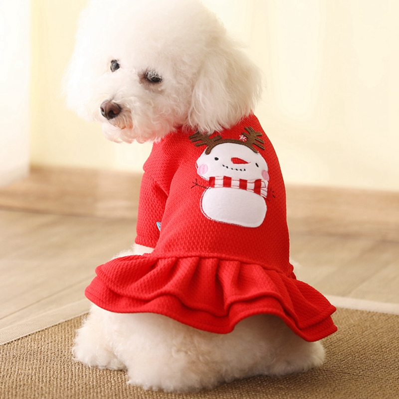 Pet Warm Clothes Dog Girl Costume Princess Dress 2 legged Cute Apparel Christmas Outfit