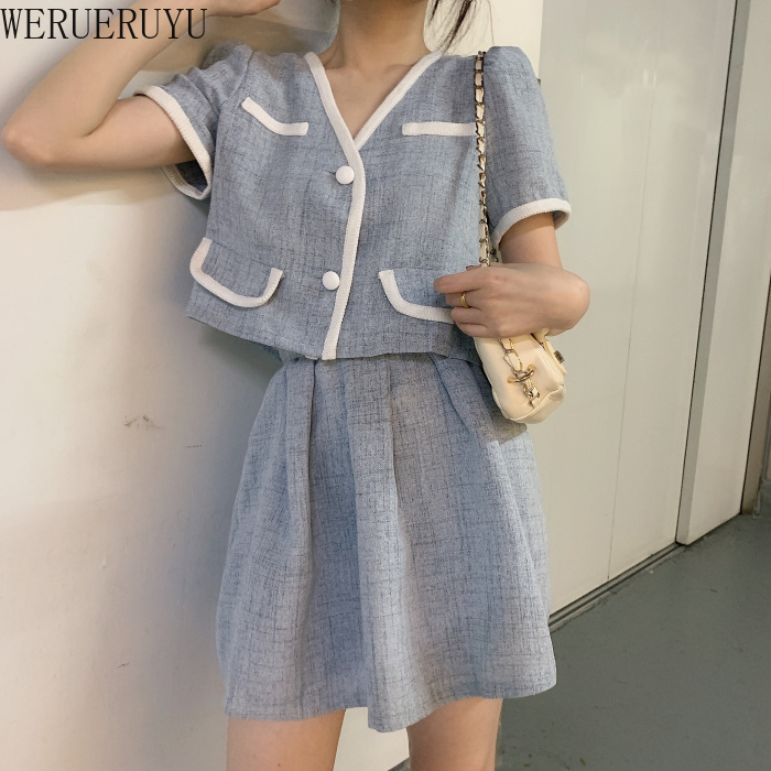 HotNew Simplee Two-piece Casual Women Dress Elegant Short Sleeve Button Skirt Suits A-line Office Lady Summer Suits 2020