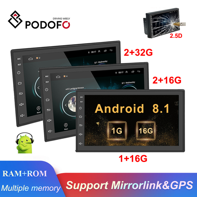 "Podofo Android 2din Car Radio 7"" Multimedia Player Autoradio Touch screen GPS WIFI Bluetooth Car Audio Radio Stereo Mirror Link"