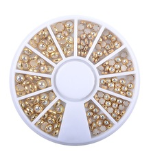 Nail Rhinestones 1 Box Mixed AB Beige Color Glitter Pearl Colorful Beads Metal Frame Gem Nails Art Decoration DIY Manicure Tool